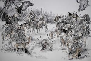 Aquarelle-peintures de la mongolie1